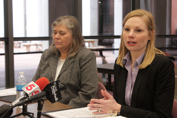 Auditor Nicole Galloway, right, is the only woman holding statewide office in Missouri. - DANNY WICENTOWSKI