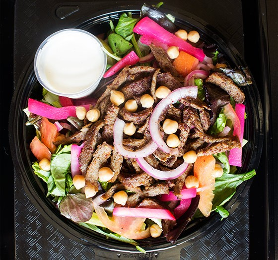 Beef-shawarma salad with romaine, spring mix, tomato, onion, pickle, cucumber, pickled turnips, chickpeas and tahini dressing. | Photos by Mabel Suen
