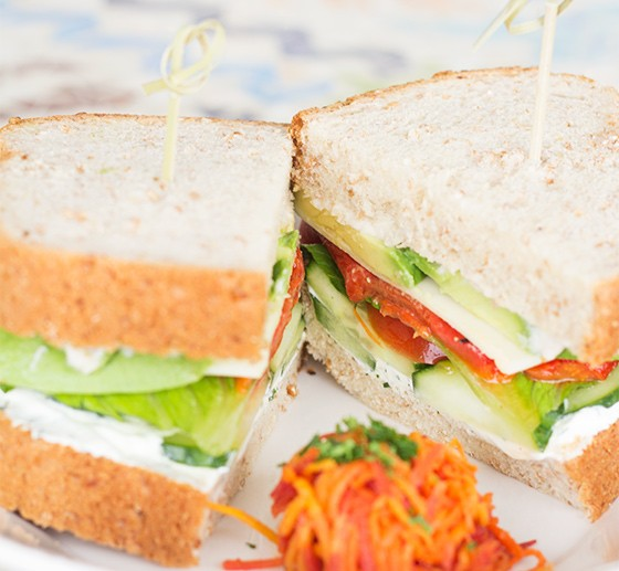 "The ""Fresh Garden Veggie"" sandwich with rainbow carrot mini salad."