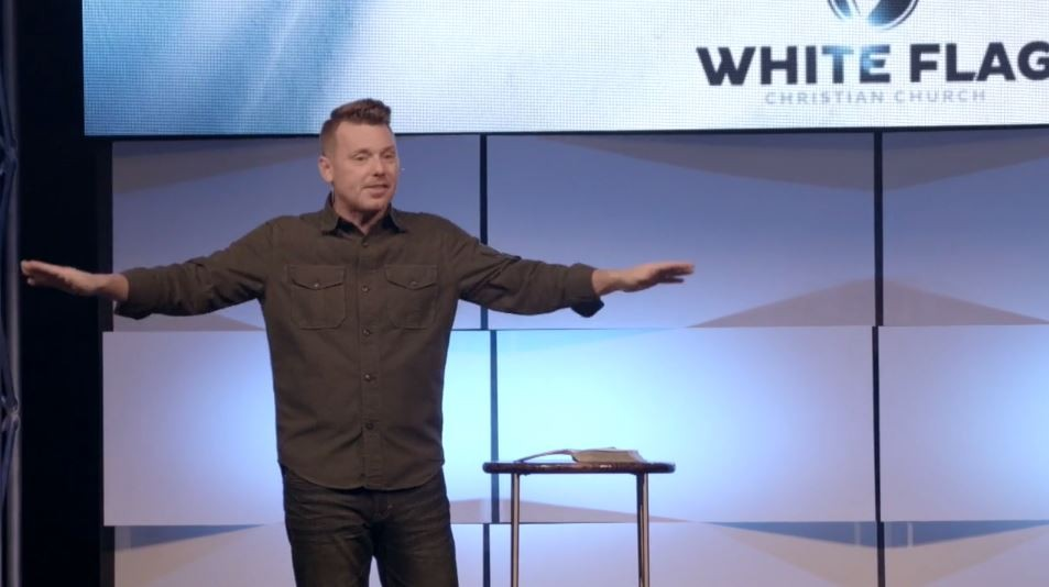 A screengrab of a sermon from Paul Wingfield, lead pastor of White Flag Christian Church. - VIMEO