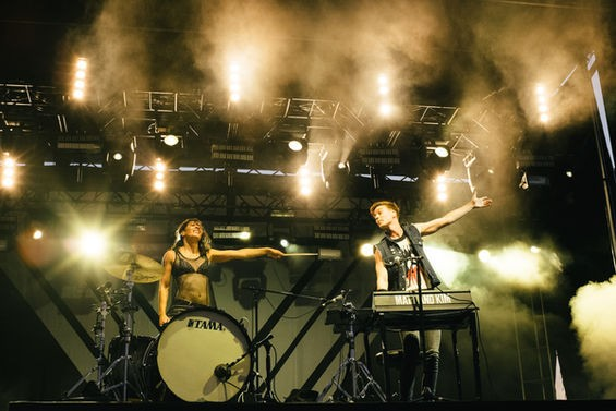 Matt and Kim performing at the 2014 LouFest. - PHOTO BY BRYAN SUTTER