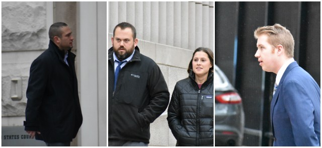 Suspended SLMPD Officers (From L) Dustin Boone, Randy Hays, Bailey Colletta and Christopher Myers outside court. - DOYLE MURPHY