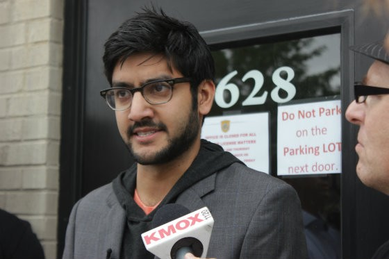 Sagar Shah responds to questions from press outside of the MTC. - EMILY MCCARTER