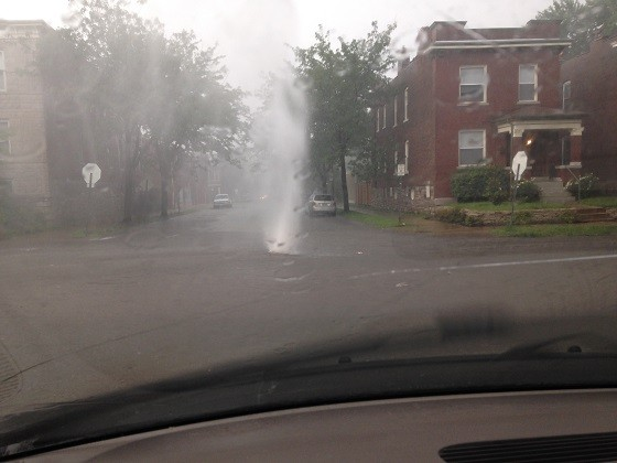 Another geyser at Thurman and Botanical avenues in the Shaw neighborhood - IMAGE COURTESY OF SHIRLEY SHEA HIRST