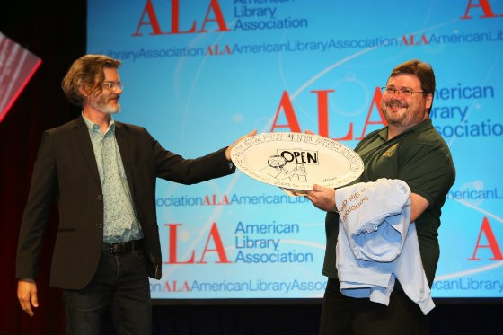 Scott Bonner (right) with Mo Willems and his brand-new award, which was designed by Willems. - PHOTO COURTESY OF THE AMERICAN LIBRARY ASSOCIATION