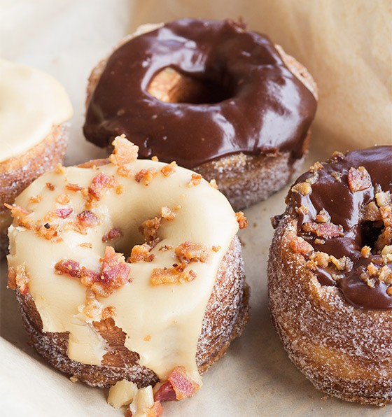Pekara Bakery's Croi-Nuts in maple, chocolate, and bacon-topped options. | Photos by Mabel Suen
