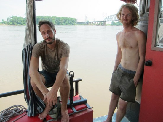 Brian Benson and Galen Huckins on the deck of The Channel Princess - ROY KASTEN