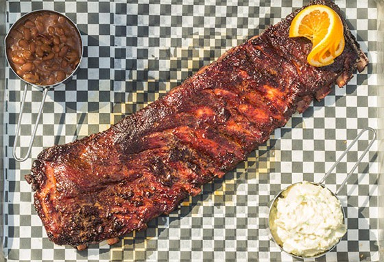 Ribs with baked beans and cole slaw. - MABEL SUEN