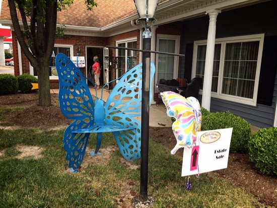 A cheery Bob Cassilly butterfly bench greets visitors at the entrance of Lindstrom & McKenney. - JAIME LEES