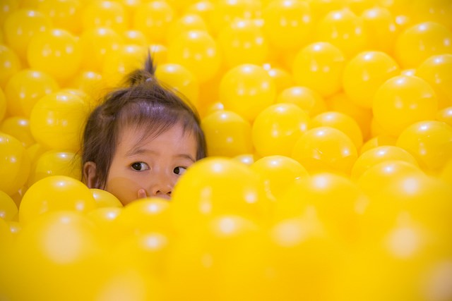Ball pits, like this one at the Color Factory, are popular selfie museum features. - FLICKR/K TAO