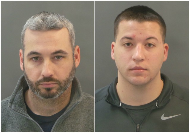 Officers William Olsten (left) and Joseph Schmitt face assault charges. - COURTESY ST. LOUIS POLICE