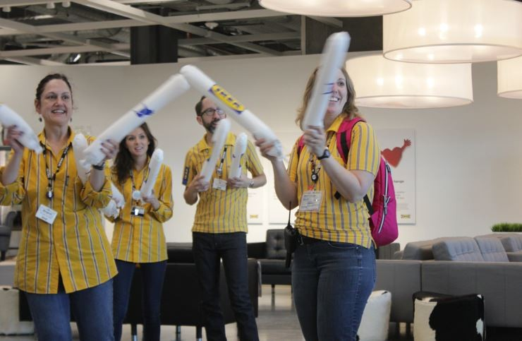 IKEA employees welcomed customers with thunderstick-banging and whoops of encouragement. - ALL PHOTOS BY DANNY WICENTOWSKI