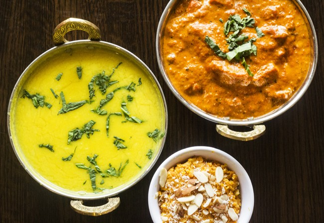 Tadka daal, butter chicken and gazar halwa. - MABEL SUEN