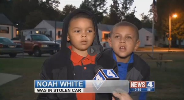 Noah White, 5, was interviewed by Alexis Zotos of KMOV last night. - SCREENGRAB VIA