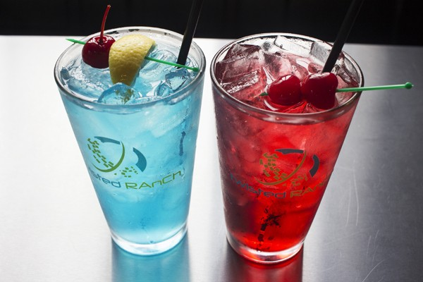 """The """"Bleed Blue"""" and """"Cardinal Red"""" cocktails. - MABEL SUEN"""