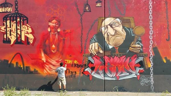 The graffiti wall in downtown St. Louis — one stop on Amanda Clark's tour. - PHOTO BY JOHN HARRINGTON