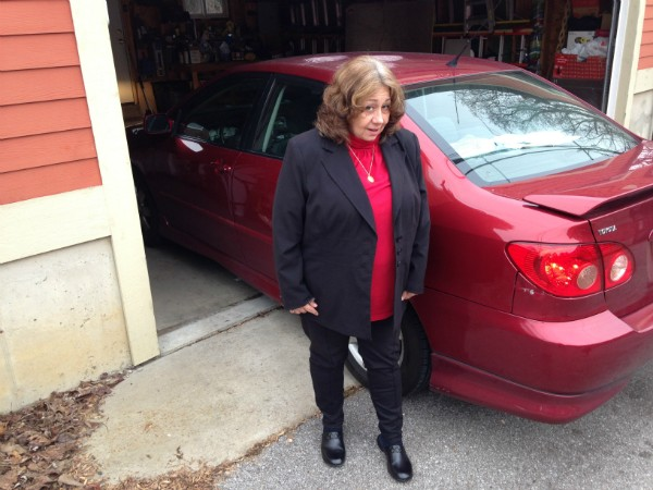 Mary Samuelson told a scammer to scram, but not before he punched two holes in her car. - DOYLE MURPHY