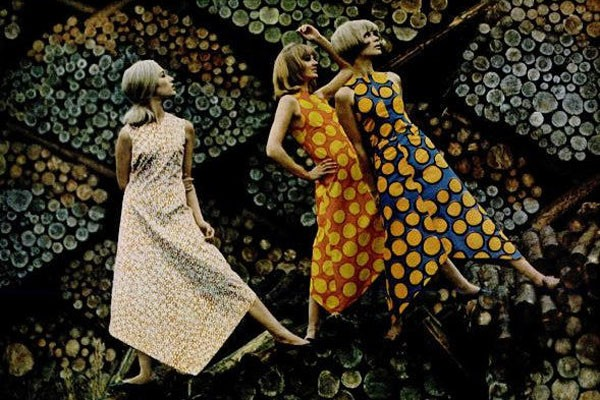 Now on display at Saint Louis Art Museum: Gorgeous prints - BRIGHT SPIRIT OF MARIMEKKO, TAKEN JUNE 24, 1966, BY TONY VACCARO FOR COVER OF LIFE MAGAZINE. (C) TONY VACCARO