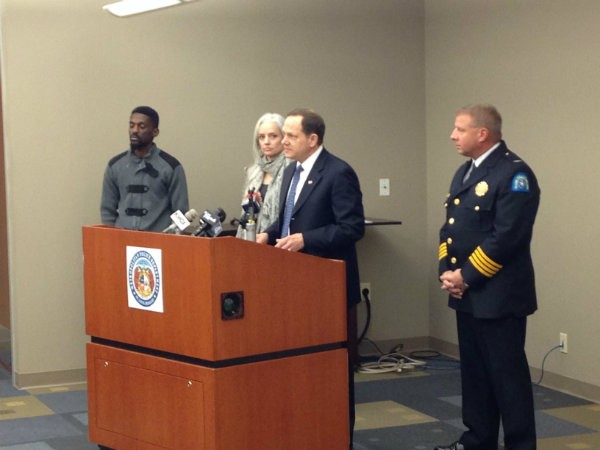 Mayor Slay, at lectern, says a new Crime Commission will help fight violence in St. Louis. - DOYLE MURPHY