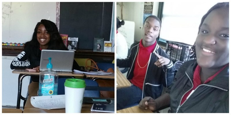 Students in Tyler Jones' AP English class, including Precious (far left), Mathew and Aaliyah. The class hopes to visit New York City this spring. - COURTESY OF TYLER JONES