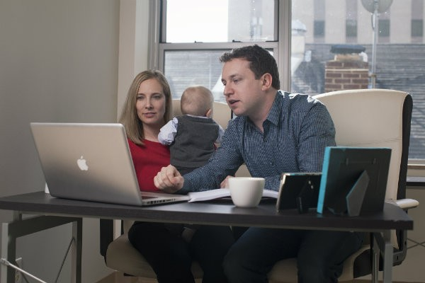 Samantha Rudolph, Jared Miller and Chief Baby Officer Exton. - COURTESY OF BABYATION