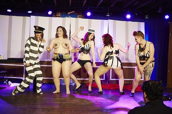 The Kiss & Tells burlesque troupe, photographed at the Duck Room in April 2015. - PHOTO BY STEVE TRUESDELL