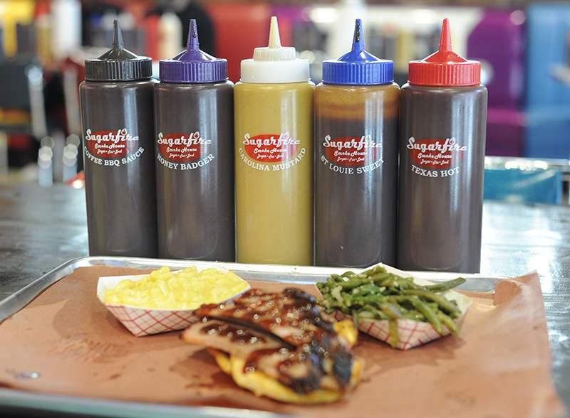 Choose from a variety of sauces, including Honey Badger, St, Louie Sweet, Texas Hot and Carolina Mustard. - PHOTO BY KELLY GLUECK