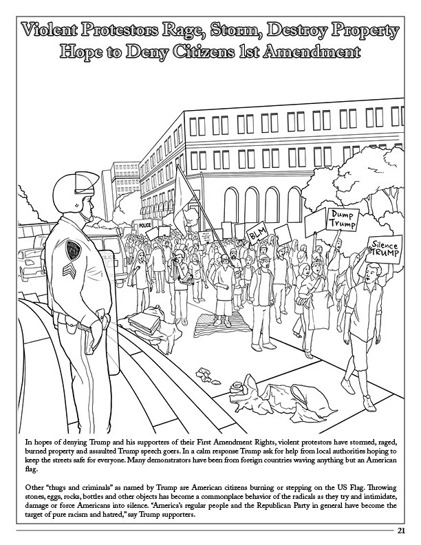 Click To Enlarge Donald Trump Coloring Book Comic Song Protest