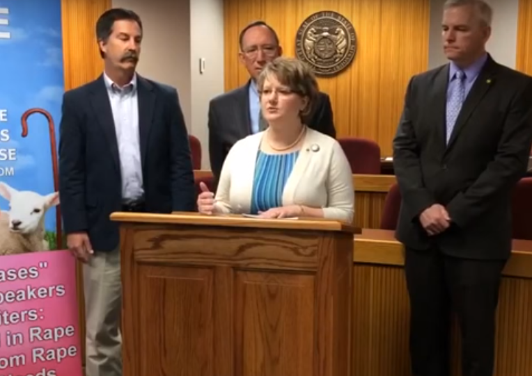 Republican State Rep. Tila Hubrecht held a press conference Thursday to defend her views on rape pregnancies. - VIA YOUTUBE