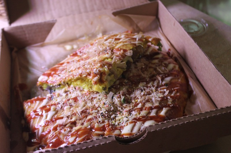 Okonomiyaki is said to be like a Japanese pizza — and the box certainly suggests as such — but it's really more akin to a savory pancake. - PHOTO BY SARAH FENSKE