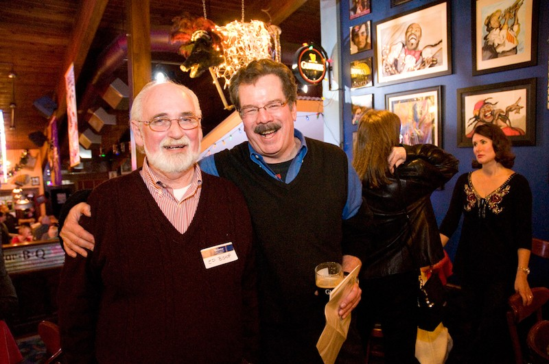 Ed Bishop, left, photographed with Don Corrigan, an old friend and co-founder of the Webster-Kirkwood Times. - PHOTO BY KHOLOOD EID