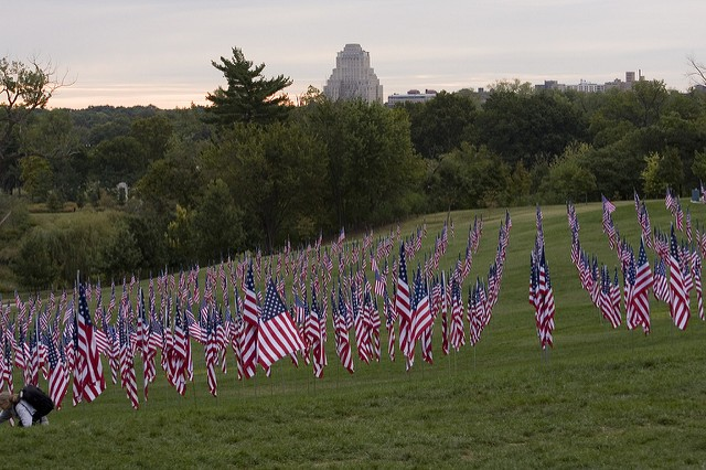 Flags on Art Hill honoring the 10th anniversary of the September 11 attacks, in 2011. - PHOTO COURTESY OF FLICKR/DAVE THOMPSON