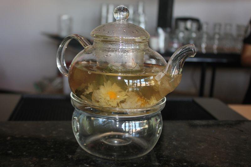 A pot of flower hot tea. - PHOTO BY SARAH FENSKE