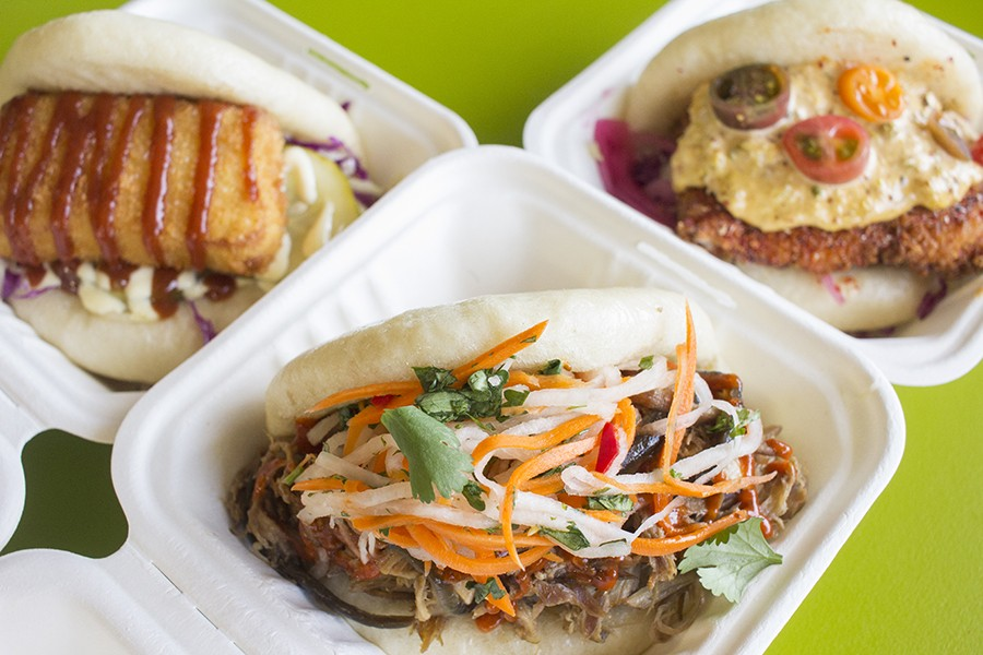 Steamed buns with slow-roasted Live Springs Farm pork, mofu tofu and togarashi-spiced catfish. - PHOTO BY MABEL SUEN
