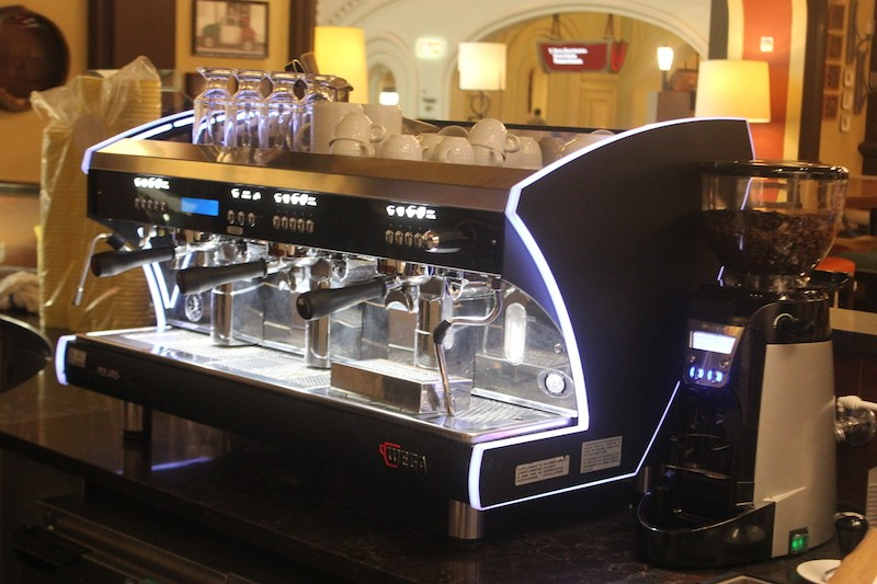 The espresso machine, a Wega, brews Lavazza coffee. - PHOTO BY SARAH FENSKE