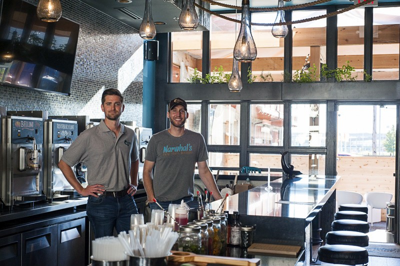 Brandon Holzhueter (left) and Brad Merten at Narwhal's Crafted Urban Ice. - PHOTO BY KELLY GLUECK