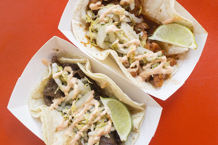 Boneless beef short rib and sweet-and-spicy chicken tacos with Asian slaw and aioli. - PHOTO BY MABEL SUEN