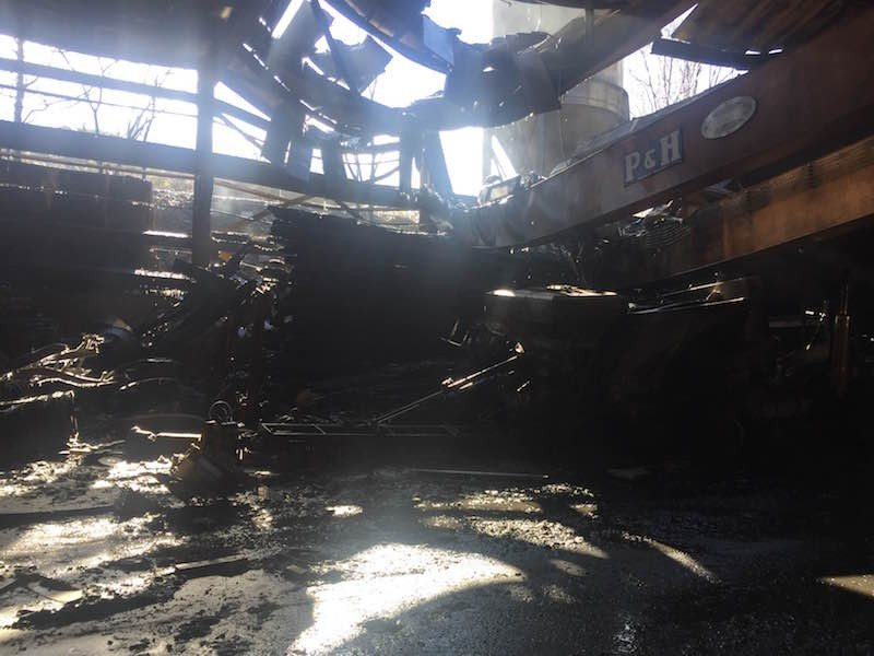 A photo taken on December 9 shows damage at Cementland's warehouse. - PHOTO COURTESY OF GIOVANNA CASSILLY