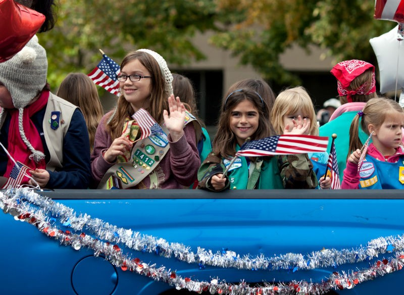 Will the Girl Scouts who march in Trump's parade be this happy? - PHOTO COURTESY OF FLICKR/ROBERT COUSE-BAKER