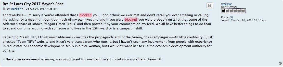 A screen grab of Alderman Joe Roddy's January 24 post.