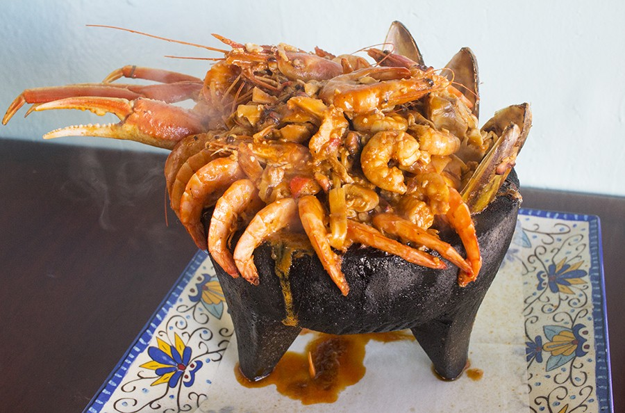 "The ""molcajete"" refers to seafood served in a mortar. - PHOTO BY MABEL SUEN"