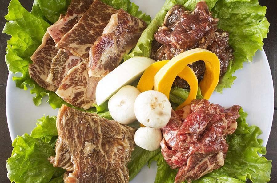 Wudon's marinated-beef combo features LA-style galbi, beef bulgogi, boneless short-ribs and marinated galbi. - PHOTO BY MABEL SUEN