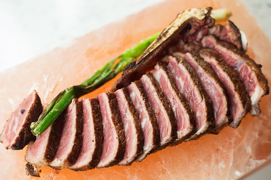 Steaks are dry-aged using a patented Himalyan salt-brick process. - MABEL SUEN