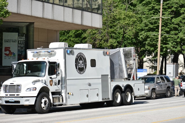 The St. Louis Regional Bomb and Arson Unit truck parked on Tuesday morning outside KSDK. - DOYLE MURPHY