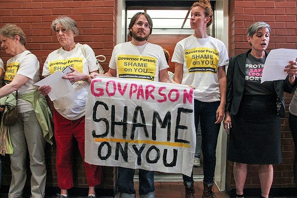 Protesters opposing abortion restrictions occupied the Wainwright Building in St. Louis on May 31. - DANNY WICENTOWSKI