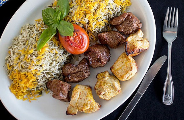 Beef and chicken shish kebab served with dill-herb rice. - JENNIFER SILVERBERG