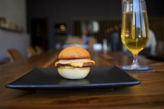 The fried venison bologna sandwich at Bulrush. - CHERYL BAEHR