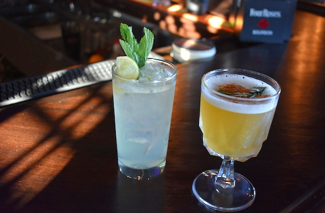 The She Bad gin cocktail (left) with St. Germain, house sour mix, mint and ginger beer. - LIZ MILLER