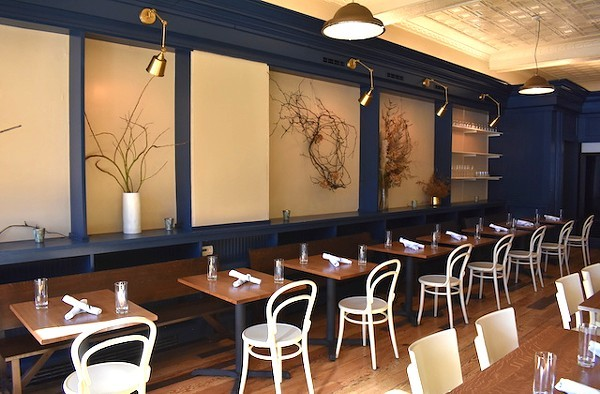 The dining room at Winslow's Table was remodeled by Sasha Malinich of R/5 and Casco Architects. - LIZ MILLER