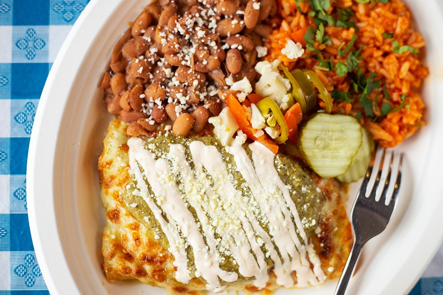 Chicken enchiladas with ricotta, cilantro and green sauce. - MABEL SUEN